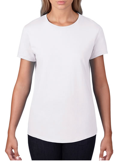 790L Ladies Black Tee - White
