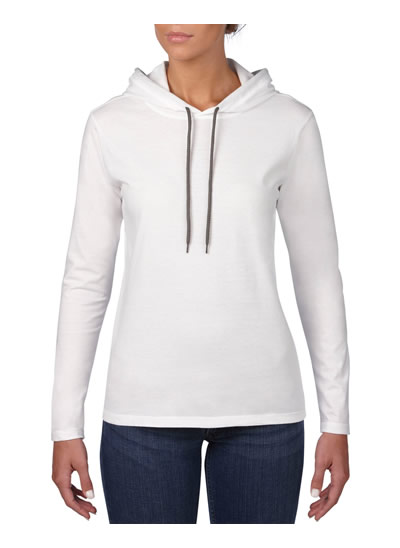 887L Women's L/Weight L/S Hooded T - White