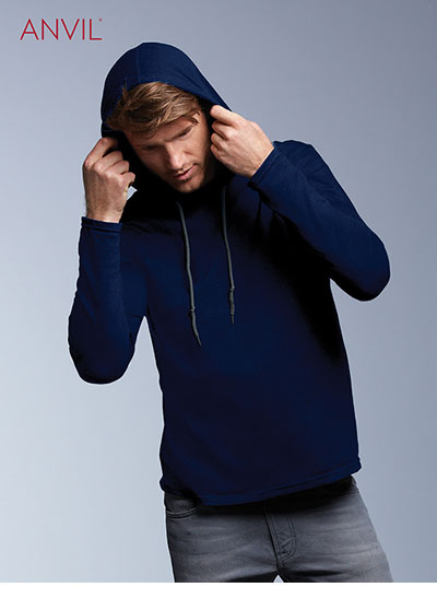 987 Adult Lightweight L/Sleeve Hooded Tee