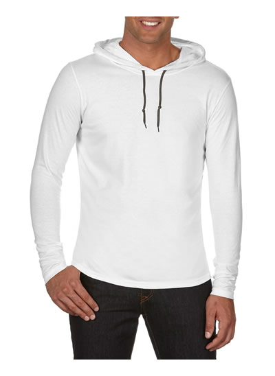 987 Adult Lightweight Long Sleeve Hooded Tee - White